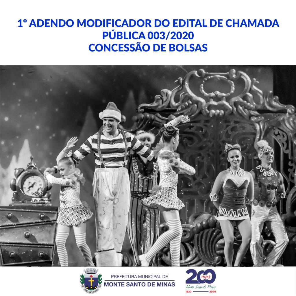 1º Adendo modificador do edital de chamada pública 003-2020 CONCESSÃO DE BOLSAS