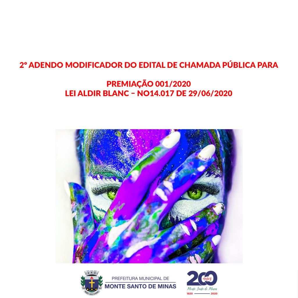 2º Adendo modificador do edital de chamada pública para premiação 001-2020 – Lei Aldir Blanc – nº 14.017 de 29-06-2020